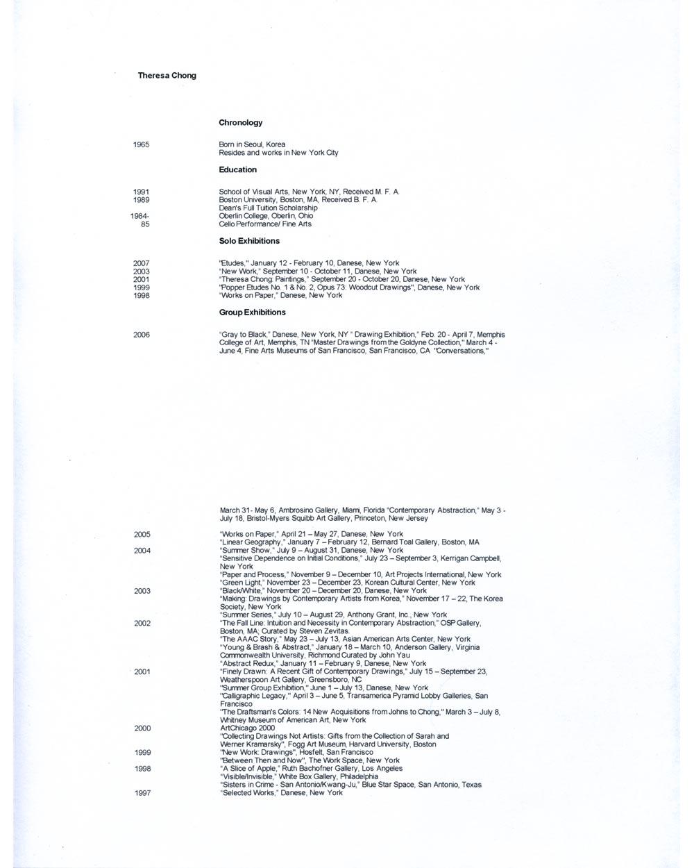 Theresa Chong's Resume, pg 1